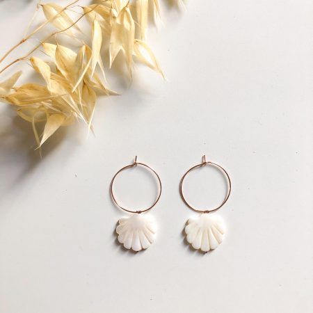 BOUCLES D'OREILLES COQUILLAGE OR ROSE